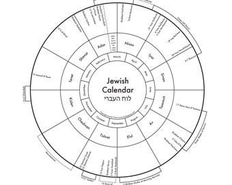 Jewish Calendar Letterpress Print 8x8
