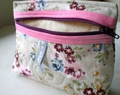 Sweet Pink Flowers Quilted Coin Pouch/ Coin Purse