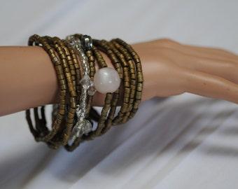 Assorted Wood bead Bracelet set, Brown Bracelet, Wooden Bead bracelet, Multi-strand Wooden Bracelet, Stretch Bracelet, Gift for her