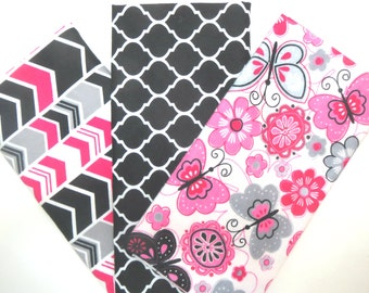 3 Pack of Flannel Fabric Fat Quarters in a Bundle of Pink, Grey, Black and White Flowers, Butterflies, Trellis and Arrow Prints