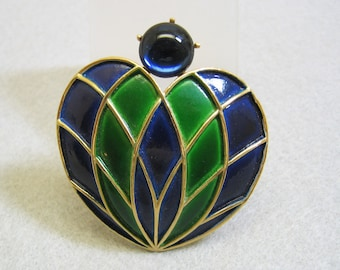 Large 1960s WEISS Navy and Kelly Green Enamel Heart Pin