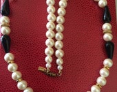 Signed 1928 Light Weight Classic Faux Pearl Back and Gold Tone Bead Necklace