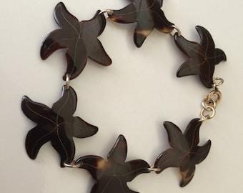 Unique Vintage Faux Tortoise Starfish Bracelet