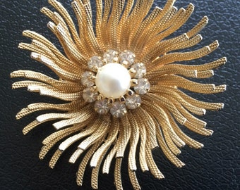 Vintage Burst Brooch with Faux Pearl and Clear Rhinestone Center