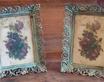 Vintage Matching Shabby Frame Set With Glass Wall/Tabletop Chalk Paint Patina Finish