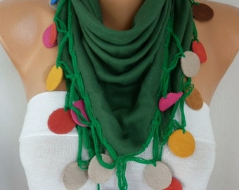 Kelly Green Pashmina Scarf Christmas Gift,bohemian,  Cotton Cowl Shawl Leather Gift Ideas For Her Women Fashion Accessories Scarves