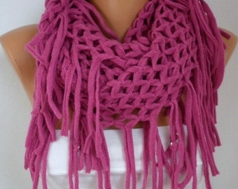 Fuchsia Infinity Scarf Winter Scarf Loop Scarf Circle Scarf Lace Scarf  Tube Scarf  Gift Ideas For Her Women Fashion Accessories Christmas