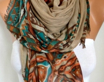 Beige Cotton Scarf, Shawl, Fall Summer Cowl Oversized Wrap Pareo Bridesmaid Gift Gift Ideas For Her Women Fashion Accessories  Women Scarves