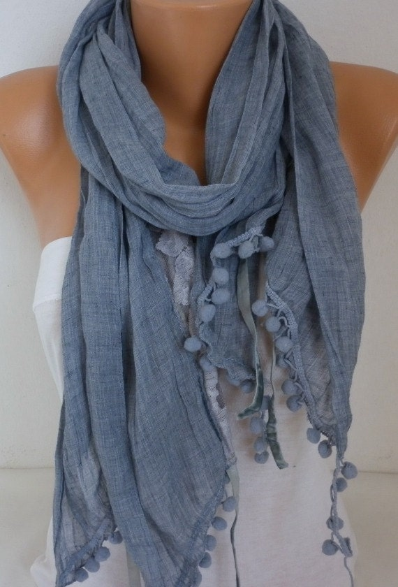 Gray Cotton Lace Scarf,Wedding Shawl Cowl Scarf Gift Ideas for Her Bridesmaid Gift Women Fashion Accessories Women scarves