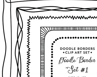 Doodle Borders - Instant Download - Commercial Use Clipart Digital Scrapbook