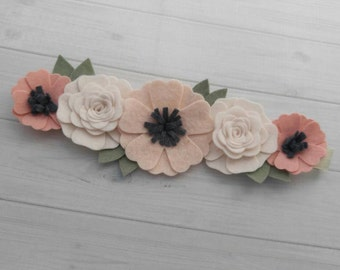 Wool Felt Flower Crown in Wheat, Off White and Vintage Pink - Flower Headband - Baby Headband -Hair accessories- 8 inch flower crown