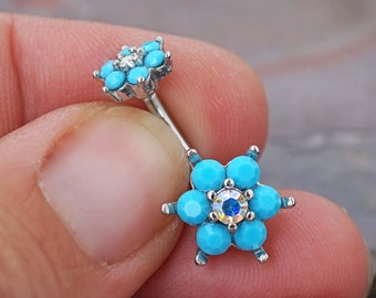 Belly Button Rings Turquoise Spring Flower Sparkle Prong Set Belly Button Ring