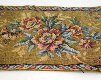 SALE Vintage 1930's Table Runner Floral Tapestry Table Cover Made In Italy Silk Floral