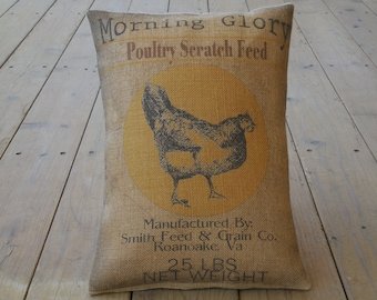 Feed Sack Chicken Burlap Pillow, Farmhouse Pillows, Vintage chicken label,  INSERT INCLUDED