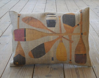Vintage Paddles Burlap Pillow, Nautical, sailing, INSERT INCLUDED