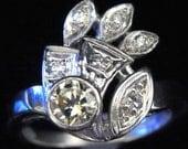 Vintage Diamonds 14k White Gold Ring Yellow Diamond Art Deco Style