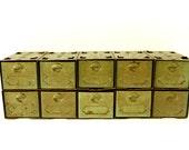 Vintage Metal Parts Drawer Hardware Bin with 10 Drawers in Rustic Green (c.1950s) - Industrial Storage, Urban Loft Decor