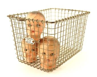 Vintage Metal Wire Locker Basket with Number 359 Tag (c.1950s) - Gym Locker Storage Basket