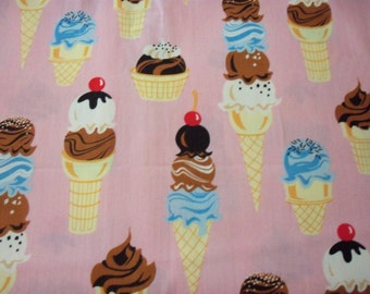 Ice Cream Cones Fabric Pink Background Delicious Desert  New By The Fat Quarter
