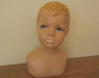 Circa 1950s boy Mannequin head.  Photo prop.  Store display.