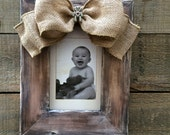 Baby Frame Bow Burlap Wood Rustic Personalize Name Customize Jewel Bling Teddy Bear Hearts
