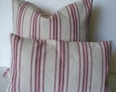 Farmhouse Pillow Red Stripe Grain Sack Pillow Cover Red  BOTH SIDES