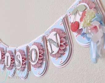 Sweet as Pie The Works Birthday Banner, name banner, nursery decor, high chair banner, photo prop