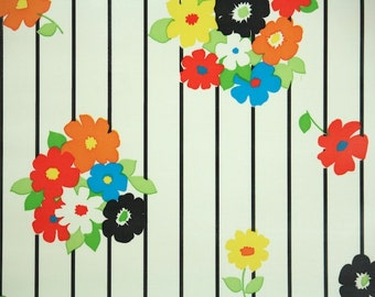 Retro Wallpaper by the Yard 70s Vintage Wallpaper - 1970s Vinyl Bright Floral Black Stripe