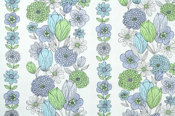 Retro Wallpaper by the Yard 70s Vintage Wallpaper - 1970s Floral with Green Aqua Blue and Lavender Purple Flower Stripes Tulip Chrysanthemum
