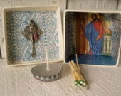 Tiny prayer box Christian shrine meditation upcycled embellished pocket size