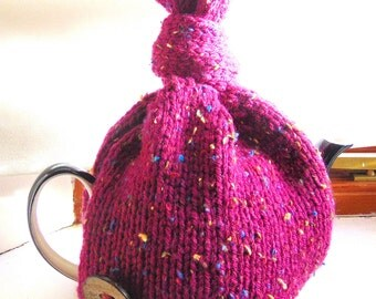Hand Knitted Top Knot Tea Cosy 4- 6 cup teapot