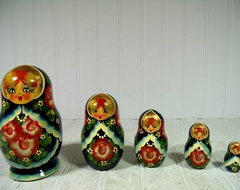 Vintage Russian Wooden Nesting Dolls Complete Set - 5 Matryoshka Dolls Signed R. Cepzueb Nocad Dark Blue with Roses & Gold Leaf Babushka Set