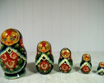 Vintage Russian Wooden Nesting Dolls Complete Set - 5 Matryoshka Dolls Signed R. Cepzueb Nocad Dark Blue with Roses & Gold Leaf Babushka Set