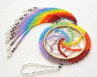 Rainbow Beaded Dream Catcher
