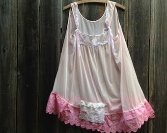 Gypsy fairy semi sheer Lover Sweetheart soft rose pink hand dyed vintage lace rustic boho party prairie romance  lace slip tunic top