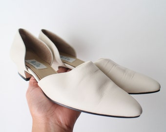SIZE 8 M Vintage 90s Bone White Genuine Leather D'Orsay Shoes Low Heels Excellent Condition