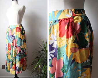Vintage 80s Carol Anderson Collection Bold Floral Rayon Summer Maxi Skirt with Pockets Size Medium