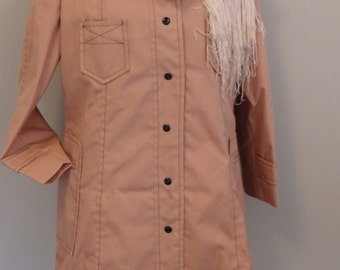British Mist 1960s Pocket Trench Coat 60s Mod Rain Jacket Dusty Pink Rain Coat Midi Jacket New Old Stock  M L