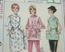 Vintage Jiffy Simple to Sew Simplicity Sewing Pattern 5763 Full Bib Apron Cobbler with Pockets 1964 Large Size 18 20 Bust 38 - 40