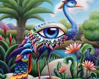 Tropical Bird of Paradise - surreal fantasy, dream-like art print - rainbow peacock mystery bird with sacred eye