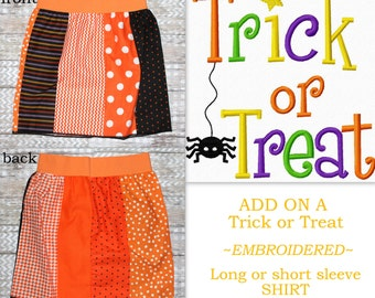 Girl Halloween Outfit Girls 4T Halloween Clothing Girls Skirt Trick Or Treat Embroidery Shirt Orange Black VIEW ALL PHOTOS See Details Below