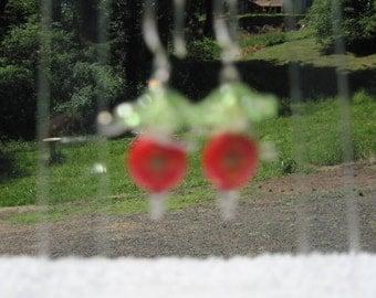 Handmade Sterling Silver w/ Green & Red Millefori Flower Dangle Pierced Earrings OOAK 1718h Bridal Wear,Gift 4 Her,Anytime Wear