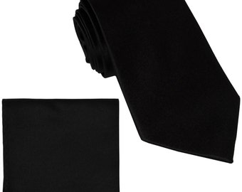 Men's Solid Black Big & Tall Extra Long Necktie and Handkerchief, for Formal Occasions