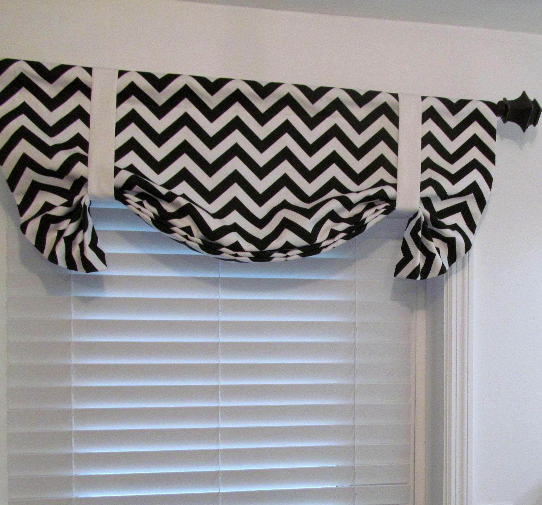 Black Amp White Tie Up Valance Lined Curtain Chevron Zig Zag
