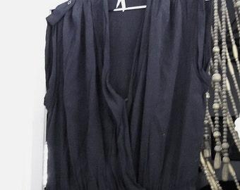 Bohemian Wrap Front Black Dress with Shrunken Waist and Buttoned Shoulder Patches, Vintage - Medium