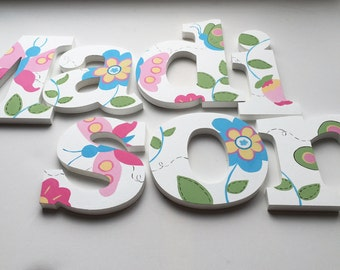 Butterflies and Flowers Wooden Wall Name Letters / Hangings, Hand Painted for Girls Rooms, Play Rooms and Nursery Rooms