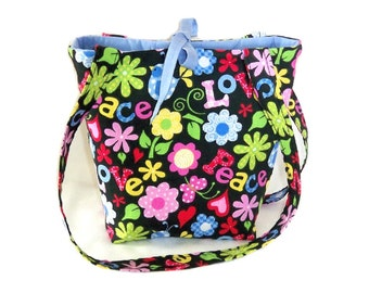 Hippie Purse, Small Tote Bag, Love, Peace, Flowers, Teen Purse, Handmade Handbag, Black Fabric Bag, Floral Cloth Purse, Shoulder Bag