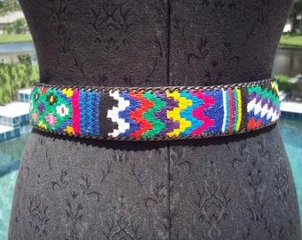 Colorful Guatemalan Leather Belt