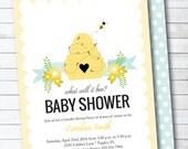 Bumble bee Gender Reveal Baby Shower Digital Printable Invitation