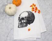 Flour Sack Towel - Tea Towel - Screen Printed Kitchen Towel - Dishcloth - 100% Absorbent Cotton - Skull Towel - Macabre Kitchen - Skull